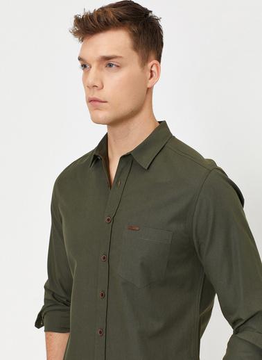 Koton Tek Cepli Uzun Kollu Slim Fit Poplin Gömlek Yeşil